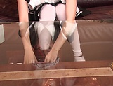 Mizuhara Mako in kinky maid outfit gets a facial