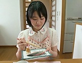 Big ass hotty Erina Nagasawa performing blow dick in kitchen