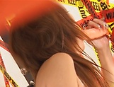 Naughty MILF Kaede Matsushima rides a big toy passionately picture 11
