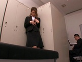 Horny Asian office babe, Haruka Sanada gives a nice handjob picture 10
