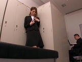 Horny Asian office babe, Haruka Sanada gives a nice handjob picture 11