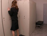 Horny Asian office babe, Haruka Sanada gives a nice handjob picture 2