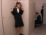 Horny Asian office babe, Haruka Sanada gives a nice handjob picture 4