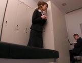 Horny Asian office babe, Haruka Sanada gives a nice handjob