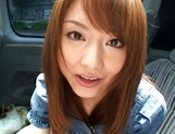 Hot teen, Akiho Yoshizawa gives a steaming blowjob in a car picture 14