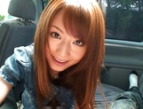 Hot teen, Akiho Yoshizawa gives a steaming blowjob in a car picture 15