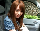 Hot teen, Akiho Yoshizawa gives a steaming blowjob in a car picture 5