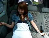 Hot teen, Akiho Yoshizawa gives a steaming blowjob in a car