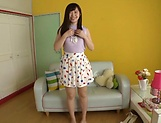 Horny Asian teen, Chihiro Nishikawa strips and masturbates on the couch picture 14