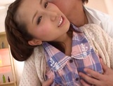 Beautiful teen chick with ubble tits Minami Kojima squirts and eats cum picture 10