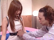 Redhead teen with perky tits Myu Hoshino gets feet licked pussy plowed