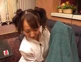 Two playful Asian teens Yui Miho and Mitsu Amai enjoy threesome bang