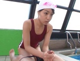 Young babe sucks her coach in the swimming p ool picture 14