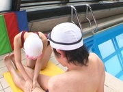 Young babe sucks her coach in the swimming p ool