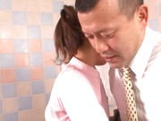 Talented Japanese teen hottie Minami Kojima fucks her guy in a bathroom