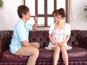 Sexy curvy Asian teen girl Minami Kojimagets licked and rides hard cock