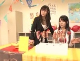 Naughty Japanese teen girls lick candies and suck hard real cock picture 11