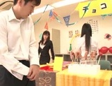 Naughty Japanese teen girls lick candies and suck hard real cock picture 12