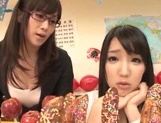 Naughty Japanese teen girls lick candies and suck hard real cock