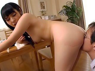 Naughty lass feeling horny from mashing her tiny boobs