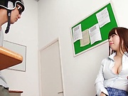 Sleazy tit fuck for a lucky dude in classroom