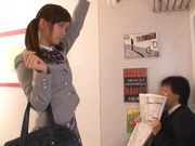 Kinky schoolgirl Minami Kojima gives a double blowjob publicly