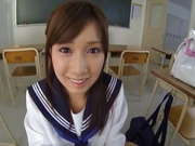 Young schoolgirl gives hand and blowjob in POV