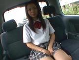 Horny Asian schoolgirl, Anna Oguri gives a steaming blowjob in a car