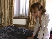 Kinky schoolgirl in black nylon stockings enjoys 69 position