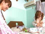 Hot teen lesbians Yuu Namiki and Kirara Kurokawa play with vibrators