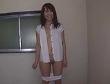 Hot young Japanese teen strips and takes it hard