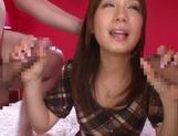 Glamorous Japanese teen Minami Kojima blows and rides two cocks picture 14