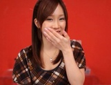Glamorous Japanese teen Minami Kojima blows and rides two cocks