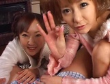 Mischievous babes Yui Miho and Mitsu Amai cream cock and ride it hard picture 12