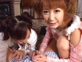 Mischievous babes Yui Miho and Mitsu Amai cream cock and ride it hard picture 13