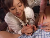 Mischievous babes Yui Miho and Mitsu Amai cream cock and ride it hard picture 14