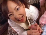 Mischievous babes Yui Miho and Mitsu Amai cream cock and ride it hard picture 15