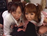 Mischievous babes Yui Miho and Mitsu Amai cream cock and ride it hard