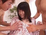 Ami Hyakutake fucked by two hunks and made to swallow