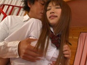 Horny lesbian babes Yuu Namiki and Kirara Kurokawa have sex with two guys