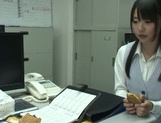 Skinny busty Asian model Tsubomi gets screwed on a table picture 15