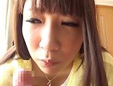 Chitose Saegusa smiles as she gets a doggy penetration