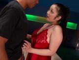 Gorgeous Asian babe, Minako Komukai, in red lingerie gives head