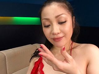 Minako Komukai, Asian milf in red lingerie, sucks cock