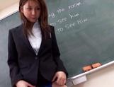 Sexy Asian teacher Yui Tatsumi masturbates in front of class picture 15