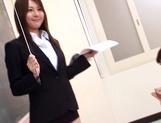 Sexy Asian teacher Yui Tatsumi masturbates in front of class
