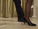 Curvy Asian MILF Reiko Sawamura teases in sexy stockings picture 14