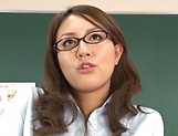 Hot teacher Jun Harada masturbastes in front of her students picture 10