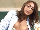 Hot teacher Jun Harada masturbastes in front of her students