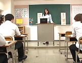 Hot teacher Jun Harada masturbastes in front of her students picture 3